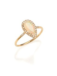 Suzanne Kalan Soleil Opal Diamond And 14K Yellow Gold Pear Ring