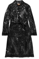Christopher Kane Lace And Pvc Trench Coat Black