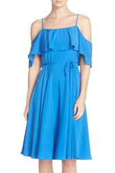 Cynthia Steffe Jackie Cold Shoulder Fit And Flare Dress Blue