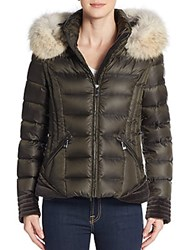 Dawn Levy Olivia Fur Trimmed Down Puffer Jacket Kalam Olive