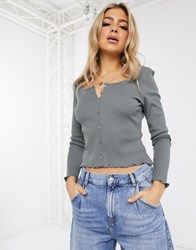 Na Kd Organic Cotton And Recycled Polyester Ribbed Button Through Top In Grey