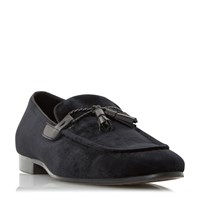 Dune Rescuer Tassel Velvet Loafer Shoes Black
