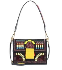 Etro Embellished Suede Shoulder Bag Black