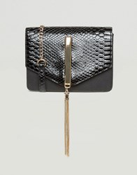 Lipsy Patent Cross Body Bag With Tassel Black