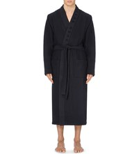 Hugo Boss Waffle Texture Cotton Blend Robe Navy