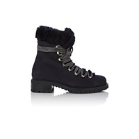 Barneys New York Shearling Lined Garnet Ankle Boots Navy