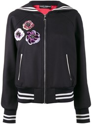 Dolce And Gabbana Sequin Embellished Sailor Collar Bomber Jacket Blue