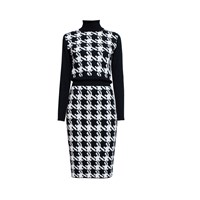 Rumour London Lina Houndstooth Merino Wool Dress Black White