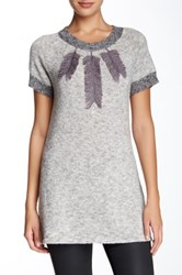 Fever Short Sleeve Jewel Sweater Gray