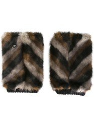 Urbancode Striped Fur Effect Mittens Black
