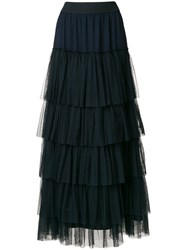 Twin Set Long Tulle Ruffled Skirt Polyester Blue