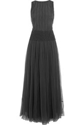 Brunello Cucinelli Sequin Embellished Tulle Gown Anthracite