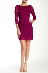 Abs By Allen Schwartz 3 4 Length Sleeve Lace Dress Red