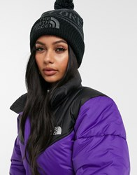 The North Face Retro Pom Beanie In Gray Black