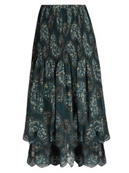 See By Chloe Paisley Floral Print Tiered Crepe Skirt Green Multi