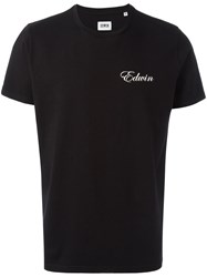Edwin Logo Chest Print T Shirt Black