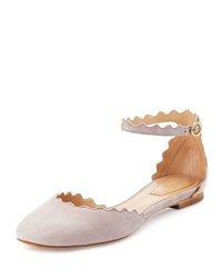 Chloe Lauren Scalloped Suede Ankle Strap Flat Elephant Gray