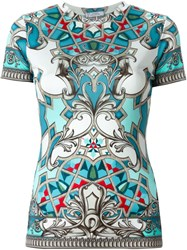 Versace Collection Baroque Print T Shirt Blue