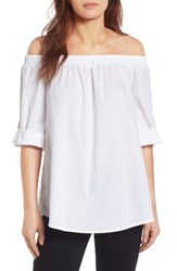 Bobeau Women's Off The Shoulder Poplin Shirt White