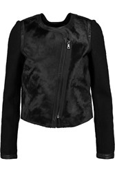 Line Anita Wool Boucle Calf Hair And Leather Jacket Black