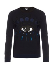 Kenzo Eye Applique Crew Neck Wool Blend Sweater Navy