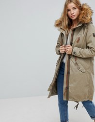 Only Parka With Faux Fur Lining Gray