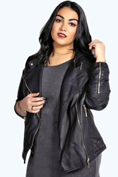 Boohoo Quilted Faux Leather Biker Jacket Black