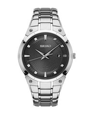 Seiko Diamond Accented Watch Silver