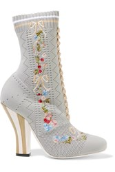 Fendi Embroidered Stretch Knit Ankle Boots Light Gray