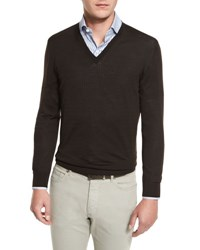 Ermenegildo Zegna High Performance Merino Wool V Neck Sweater Brown