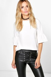 Boohoo Frill Sleeve Woven Shell Top White