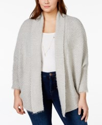 Jessica Simpson Elizabella Plus Size Pointelle Knit High Low Cardigan Grey