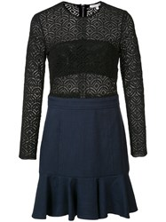 Veronica Beard Long Sleeve Crochet Dress Black