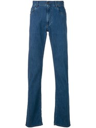 Canali Slim Fit Straight Leg Jeans Blue