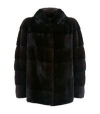 Lilly E Violetta Hooded Mink Fur Jacket Brown