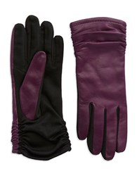 Lord And Taylor Ruched Leather Gloves Amethyst