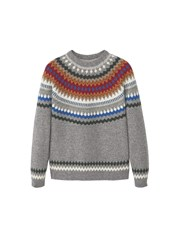 Mango Men's Fair Isle Wool Sweater Grey