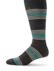Saks Fifth Avenue Striped Mid Calf Socks Blue Yellow Black Green Navy Orange Grey Red