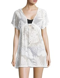 J Valdi Hooded Sheer Cover Up White