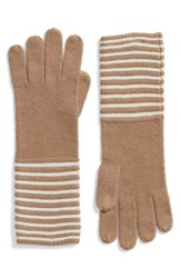 Michael Michael Kors Double Links Wool And Cashmere Gloves Dark Camel Cream