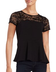 Design Lab Lord And Taylor Short Sleeve Lace Trimmed Peplum Top Black
