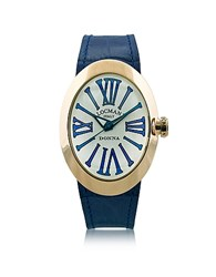Locman Change Gold Plated Stainless Steel Oval Case Women's Watch W 3 Leather Straps Blue