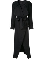 Goen.J Frayed Edges Midi Coat Black