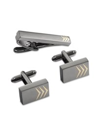Geoffrey Beene Men's Tie Bar And Cufflinks Set Gunmetal Gold