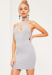 Missguided Grey Cross Front Choker Strappy Bodycon Dress