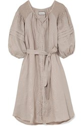 Innika Choo Hugh Smocked Embroidered Linen Dress Gray