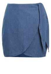 The Fifth Label Odyssey Wrap Skirt Washed Out Indigo Blue Denim