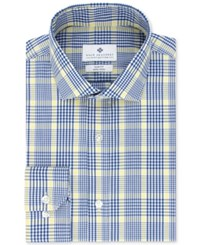 Ryan Seacrest Distinction Men's Slim Fit Non Iron Navy Plaid Dress Shirt Only At Macy's Yellow