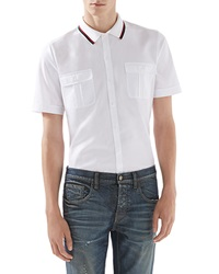 Gucci Cotton Jersey Polo Tee White