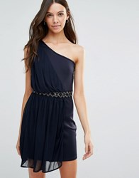 Jasmine One Shoulder Dress With Embellished Waist Navy